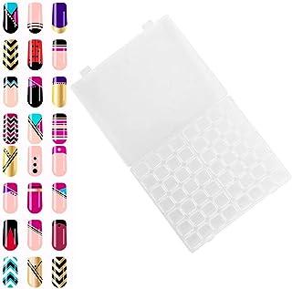 Contenedor de arte de uñas, 56 ranuras, caja organizadora de plástico para computadora, esmaltes de uñas, caja de almacena...