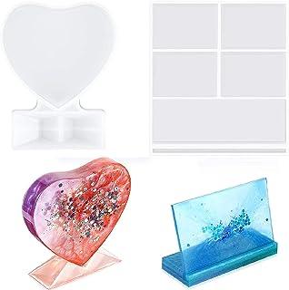 Generic 2 stuks fotolijsten harsvormen rechthoekige fotolijsten siliconen vorm hartvormen epoxyvorm DIY fotolijst gietvorm
