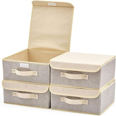 EZOWare Boîte de Rangement Pliable avec Couvercle, Cube, Panier en Tissu pour Etagères, Placard, Décoration, sous-Vêtements, Petites Jouets - Pack de 4 - Gris & Beige, 26.7 x 26.7 x 12.7 cm