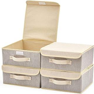 EZOWare Boîte de Rangement Pliable avec Couvercle, Cube, Panier en Tissu pour Etagères, Placard, Décoration, sous-Vêtement...