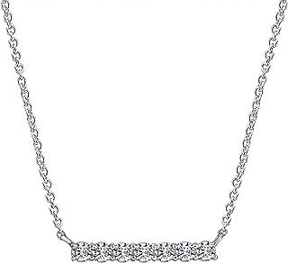 "J'ADMIRE Platinum Plated Sterling Silver 1.3 ct Swarovski Zirconia Bar pendant, 18"""