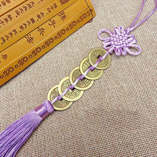 nxychunmei GBND1 Stück von fünf Kaiser Geld Glücksbringer alte Münzen rote chinesische Knotensammlung Geschenk Kupfermünze Schlüsselanhänger viel Glück Hauptdekoration lila