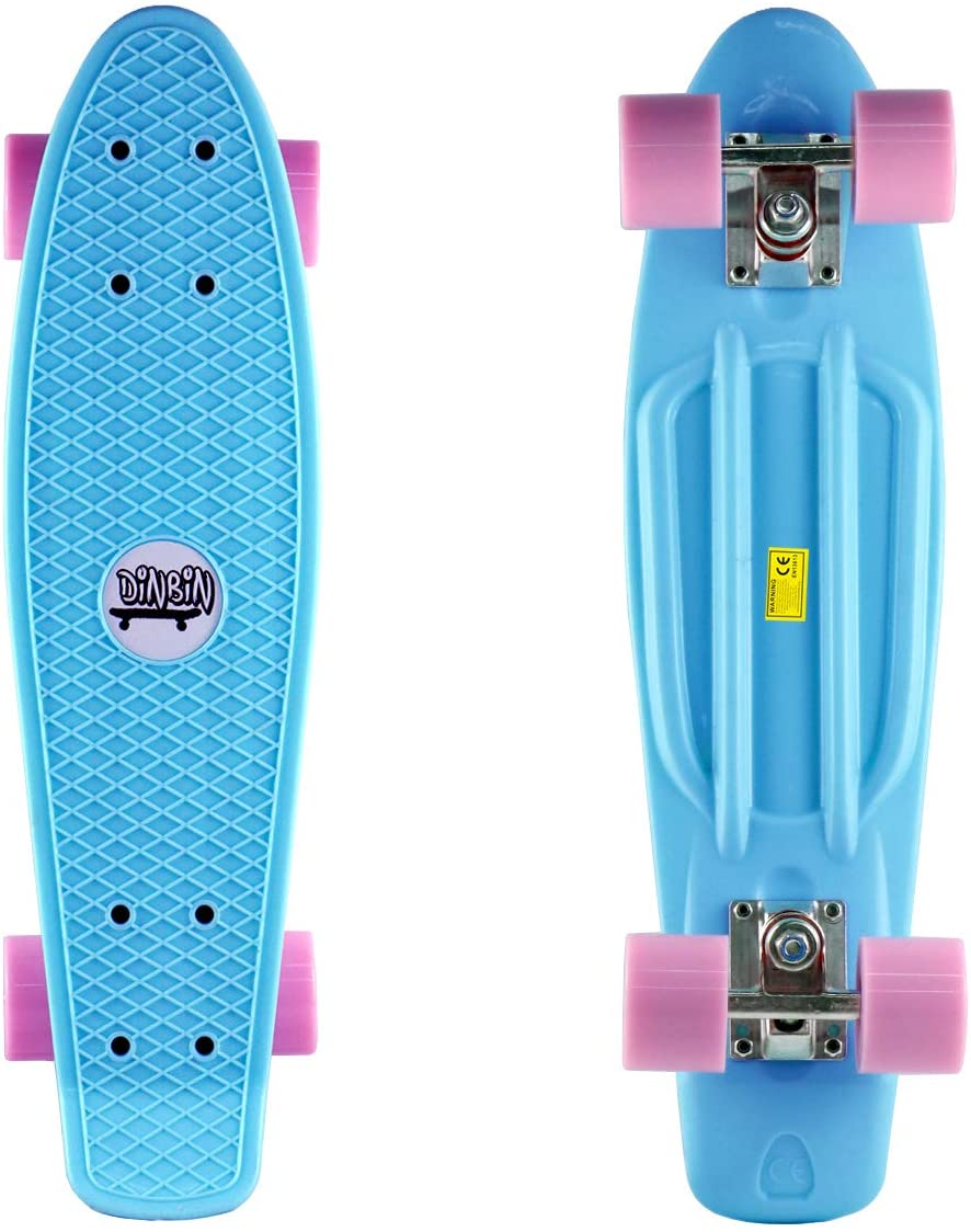 DINBIN Complete Highly Flexible Plastic Cruiser Board Mini 22 Inch Skateboards for Beginners or Professional with High Rebound PU Wheels : Sports & Outdoors