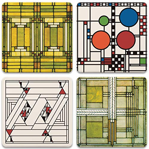 CoasterStone Absorbent Stone Coasters, Frank Lloyd Wright, Art Glass...