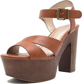 Qupid BLOGGER-15 Vintage Style Faux Wood Strappy Chunky Block Platform Sandal Heels