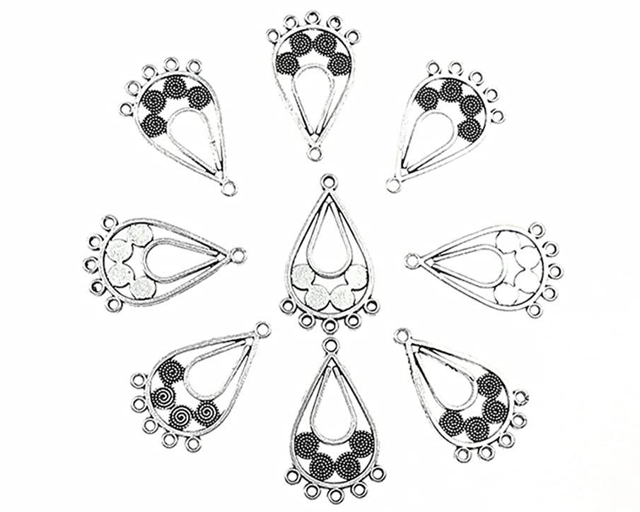 ALIMITOPIA 50pcs Chandelier Earring Loops Connectors Eardrop Necklace Linker Earring Charm Pendant for DIY Jewelry Making Findings(Tibetan Silver,Type 1#)