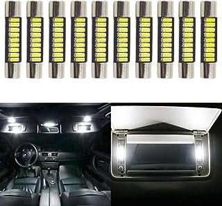 DEFVNSY - Paquete de 10 - Bombillas LED de xenón blanco brillante 30MM 31MM 4014 9SMD 6615F 6614F 3021 3022 3175 T-2 SF6 / 6 Para coche, SUV, camión, visera solar, espejo de vanidad, luz de 12 V