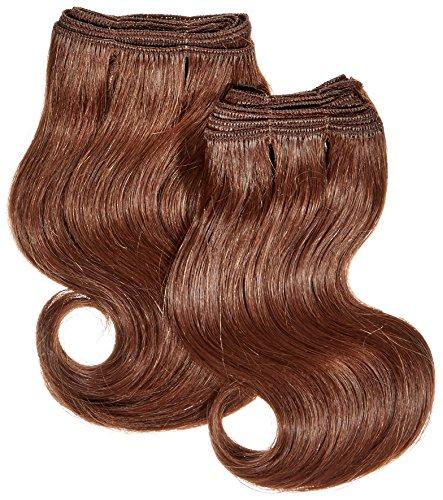 chear Body Wave Extensions capillaires 2 en 1 Extension de Cheveux Humains avec de mélange tissage numéro 33, auburn foncé 20 cm