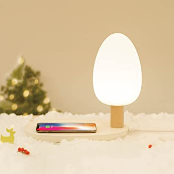 DowBier 10W Wireless Charger with Touch-Control Silicone Mushroom Night Light Wireless Charging Pad Designed for iPhone Xs MAX//XR//XS//X//8//8 Plus