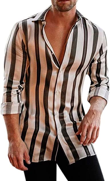 Dragon868 2020 Suave Hombres Rayas Verticales Manga Larga Camisas Casuales