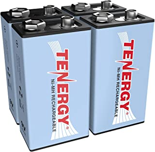 Tenergy9V NiMH Battery, High Capacity 250mAhRechargeable 9 Volt Batteries for Smoke Detector/Alarms, TENS Unit, Metal Detector, and more (4 Pack)
