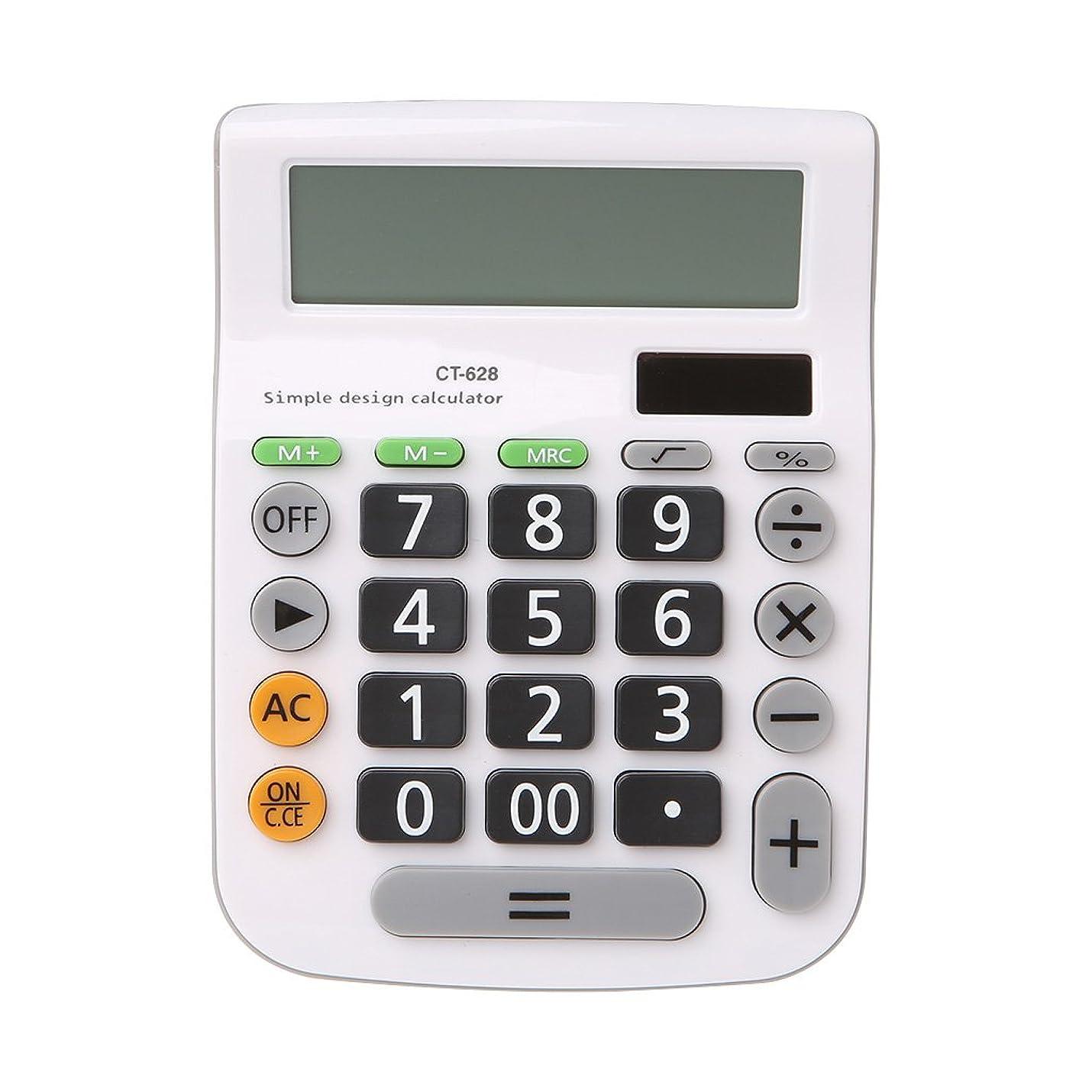 ファイバフローティング分岐するOranmay 12桁 手持ち電卓 ソーラーバッテリー デュアルパワー 大型ディスプレイ オフィス デスクトップ 学校 CT-628