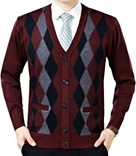 LINGMIN Men's Argyle V-Neck Cardigan Sweaters Casual Button Down Long Sleeve Sweater