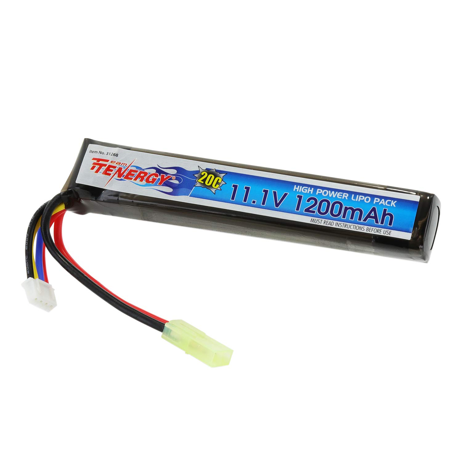 Tenergy 11.1V LiPo Airsoft Battery 1200mAh 20C Short Stick Battery Pack with Mini Tamiya Connector for AEG, Airsoft Guns AK47, MP5k, MP5 PDW, RPK, PKM (Optional Charger)