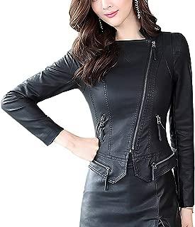 DISSA P1703B02 Women Faux Leather Biker Jacket Slim Coat Leather Jacket
