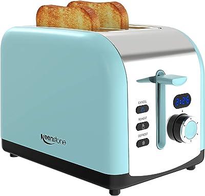 tostador 2 rebanadas, Keenstone Retro tostador de acero inoxidable con temporizador, ranura ancha, descongelar/recalentar/cancelar la fusión, bandeja de migas extraíble, color azul