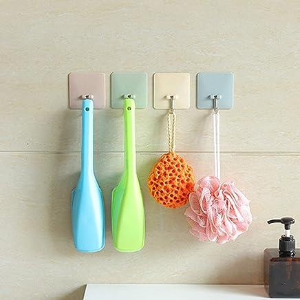 Kurtzy Wall Hooks Self Adhesive Sticker Hanger Reusable Waterproof for Door Clothes Kitchen Bedroom & Bathroom Set of 8 Assorted Colours