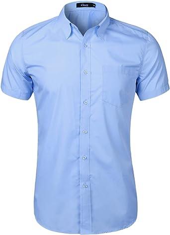 Sykooria Camisa de Hombre de Manga Corta Sólida de Algodón ...