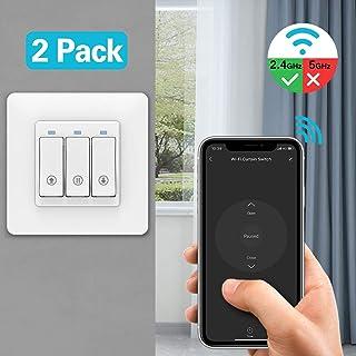 MoKo WiFi Interruptor Persiana, Interruptor Cortina Inteligente Compatible con Alexa Echo y Google Home, Control de App y Función de Temporizador, para Motor Persiana, Motor de Obturador, 2 pzs