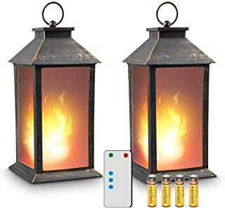 """zkee 13"""" Vintage Style Lantern,Flickering Flame Effect Tabletop Lantern(Black,Remote Timer and Batteries Included) Indoor/..."""