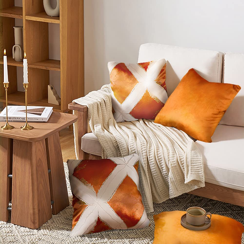 2 Packs Decorative Orange Throw Pillow Covers 18x18 Inch for Sofa Living Room Couch Bed White Diamond Lattice Patchwork Orange Velvet Luxury Modern Home Decor Square Decorative Accent Cushion Covers
