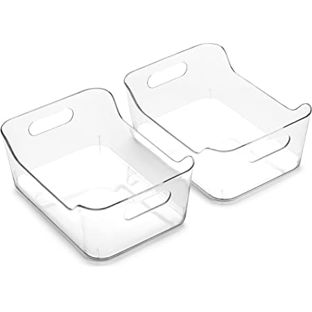 BINO | Plastic Storage Bins, Small - 2 Pack | The SOHO | Multi-Use Organizer Bins | Built-in Handle | BPA-Free | Pantry Organization | Home Organization | Fridge Organizer | Freezer Org