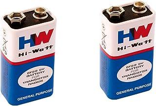 pranali enterprise Hi-Watt, 9V, 6F22M, Zinc Carbon, Long Life, General Purpose, Batteries, Set of 2, Multi Color