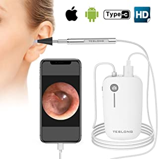 Teslong Otoscope iPhone, 4.3mm HD Inspection Camera, Ear Microscope, 6 Adjustable LED Lights with Ear Wax Removal Tools, Works with iPhone, iPad & Android