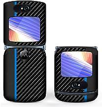 PUROOM for Motorola Razr 5G Case Classic Carbon Leather Hybrid PC Hard Flip Folding Shockproof Cover for Motorola Razr 5G ...