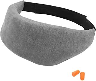 Eye Mask for Sleeping, Sleep Eye Mask Cover for Women Men Kids, Comfortable & Adjustable Grey Sleep Mask with Ear Plug Set for Night Sleeping, Travel, Camping, Nap, Shift Work and Meditation - Covvy