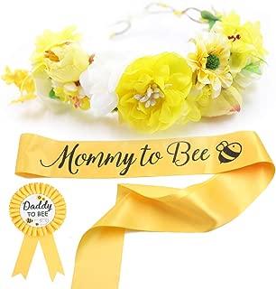 Baby Shower Mom to Bee Sash & Flower Crown & Daddy to Bee Pin Kit - What Will Baby Bee Baby Shower Gift Mommy Sash Pregnancy Sash Baby Shower Baby Sprinkle Keepsake
