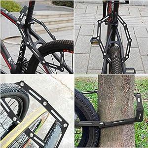 toptrek – Candado plegable con soporte para bicicleta, 100 cm de largo, 8 articulaciones, nivel de seguridad de nivel 8, candado plegable para bicicleta