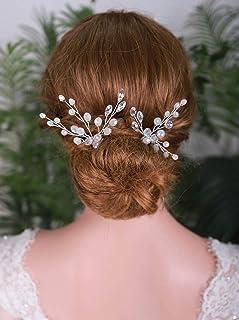 YERTTER 2 PCS Silver Wedding Pearl Hair Pins Bridal Vintage Rhinstone Headpiece Women Crystal Hair Pins Bridal Hair Pins W...