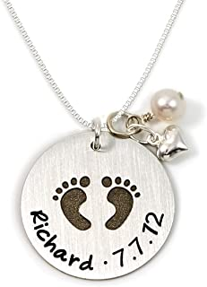 Shineyou Personalized Round Baby Name Necklace Footprint Engraved Disc Pendant Necklace Custom Sterling Silver Necklace for New Mom/Women/Mother/Friends