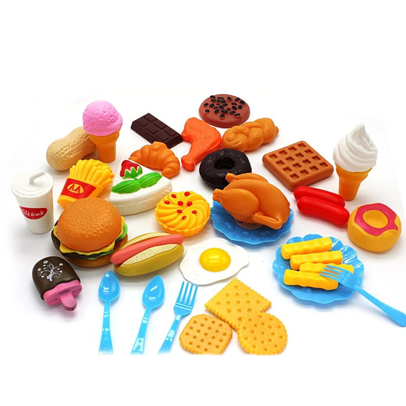 Ocamo Children Fast Food Playset Mini Hamburg French Fries Hot Dog Ice Cream Cola Food Toys for Kids Pretend Play Gift 34 Without a Basket