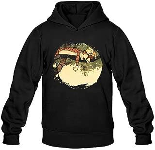 DVPHQ Men's Design Calvin Hobbes Sleeping Tree Sweater Black
