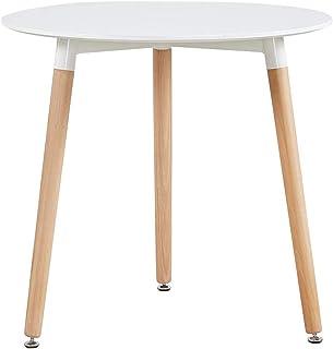 Novhome Table Ronde Salle à Manger, Petit Table Blanche Scandinave Diamètre 60cm Moderne Style Nordique en Bois (Blanc, 60...