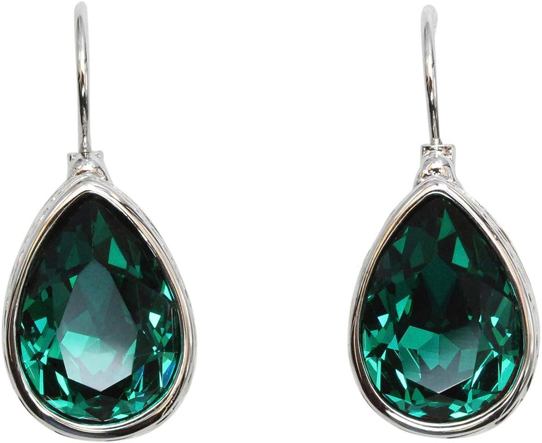 Faship Gorgeous Teardrop Rhinestone Crystal Dangling Hoop Earrings