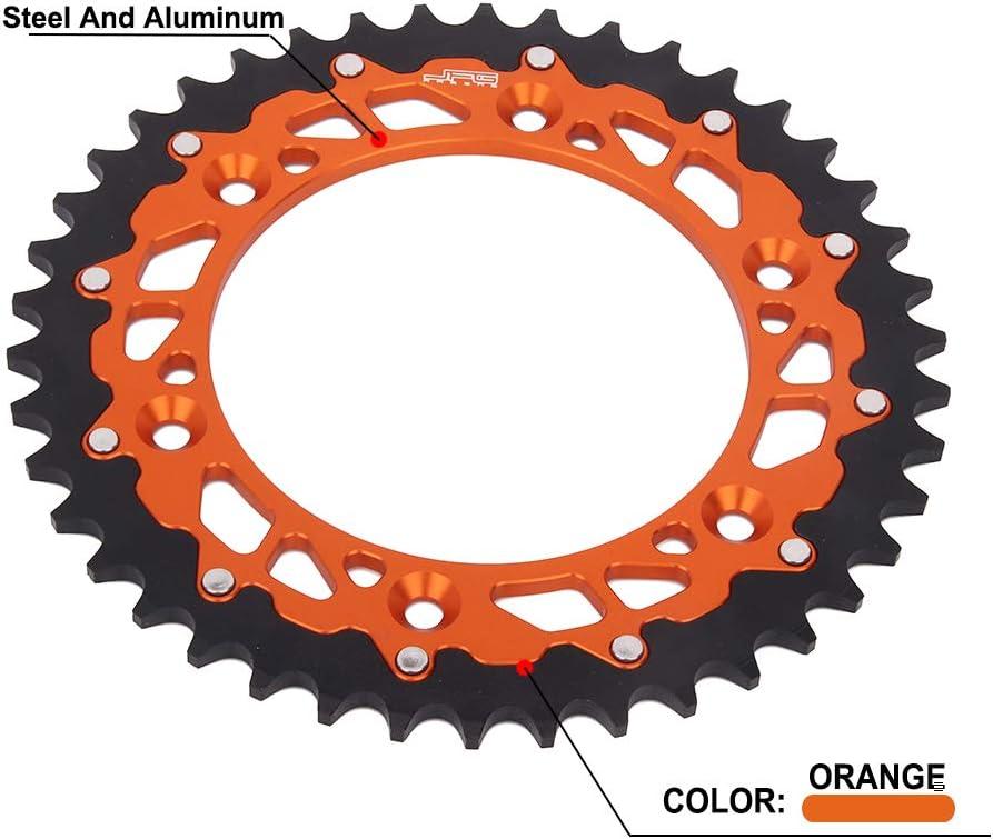 42T pi/ñ/ón de cadena trasera CNC para 125-690 EXC EXC-F EXE SX SX-F SM SMC SMR SXS XC XC-W XCF-W XC-F MXC LC4 E Enduro Adventurer Super Moto Duke Rallye motocicleta naranja