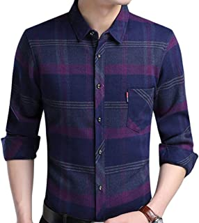 M/&S/&W Mens Fashion Embroidery Stand Collar Long Sleeve Button up Shirts Tops