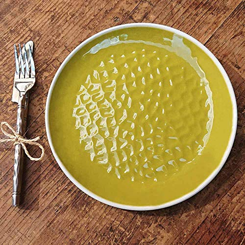Les Jardins de la Comtesse - Set de 2 Petites Assiettes en Mélamine Pure - Aspect Martelé - Vert - 23 cm - Service de Table - Collection de Vaisselle Quasi-Incassable MelARTmine