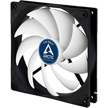 ARCTIC F14 Silent - 140 mm Case Fan, Ultra-Quiet, Extra Quiet Motor, Computer, Almost inaudible, Fan Speed: 800 RPM - Black/White