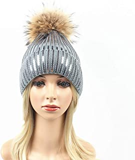 Hat Fashion Women Knit Hat Pompom Thicken Sequin Design Hedging Cap Beanie Hat Winter Cap with Running Skiing Skating Hiking Hat Fashion Accessories (Color : Gray)