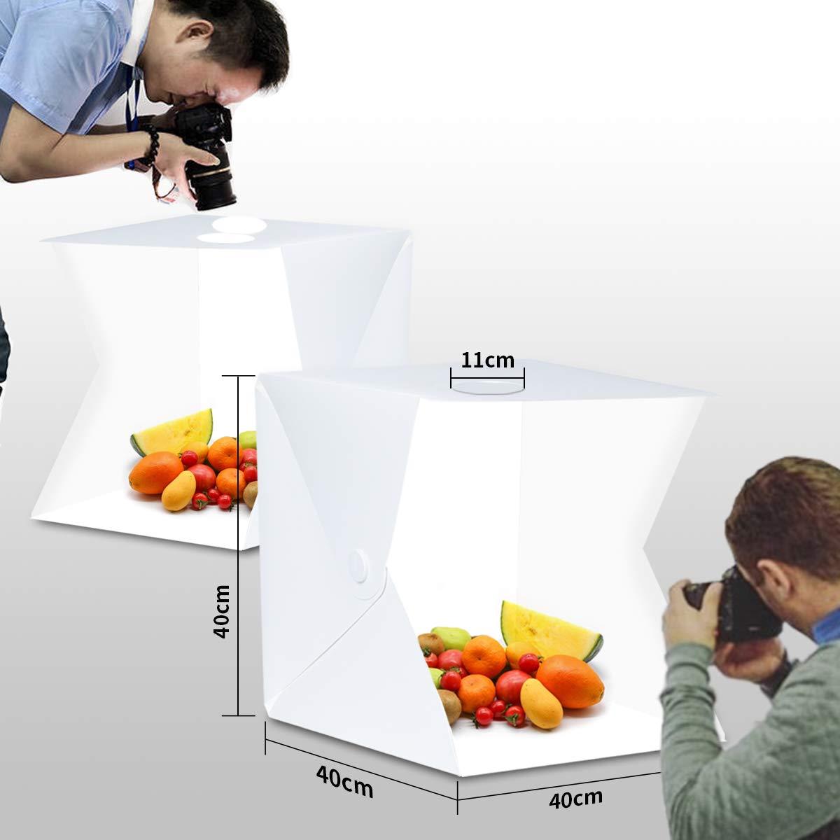 Caja de luz, estudio fotográfico 40 x 40 cm, con 3 Colores de Luz ...