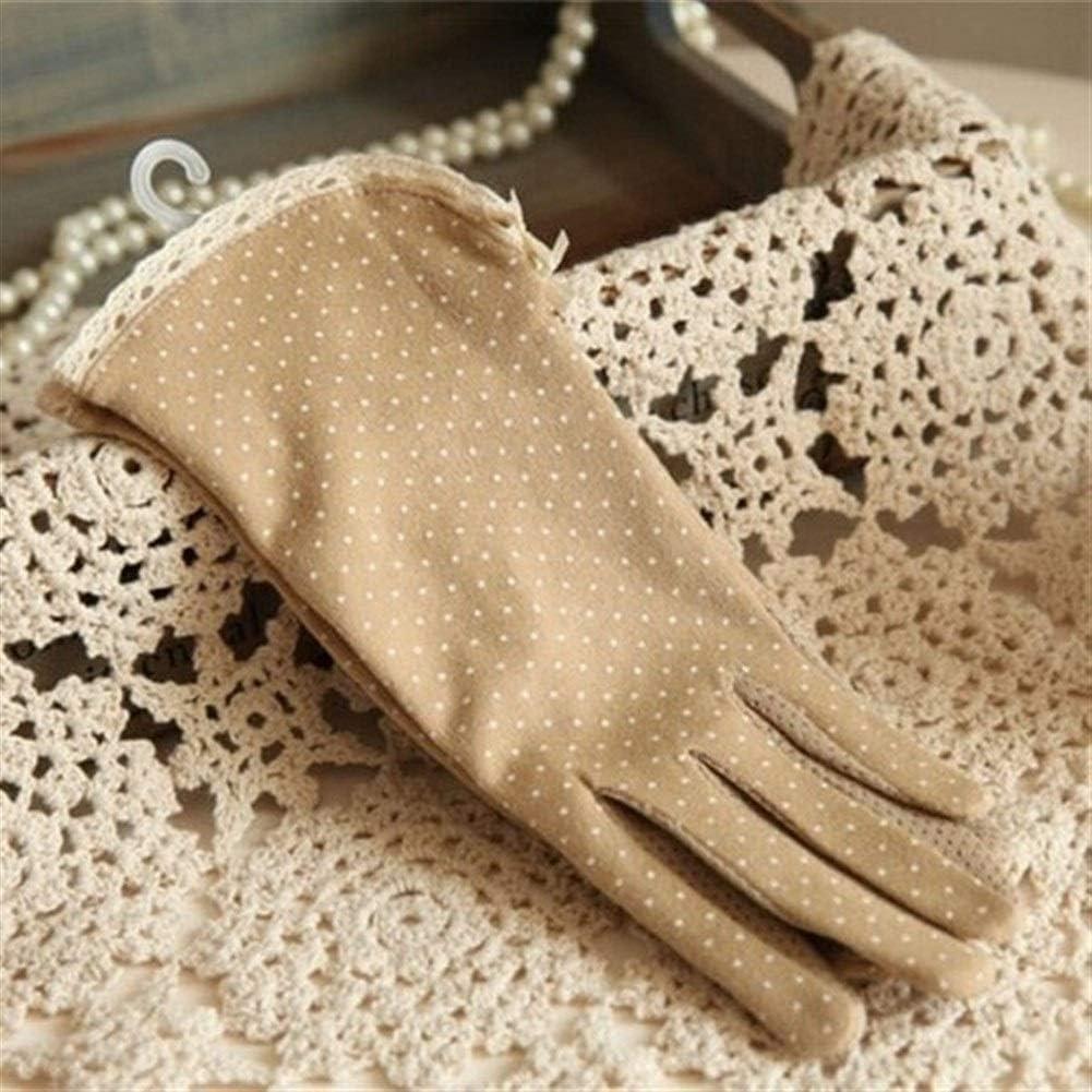 FASGION 1 Pair Summer Dot Bow Gloves Thin Non-Slip Sun Protection Glove Women's Driving Short Sunscreen Gloves Female Cotton 5 Colors (Color : Khaki)