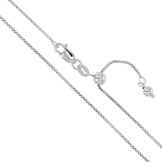 Sterling Silver Round Box Chain 1mm Genuine Solid 925 Italy Necklace