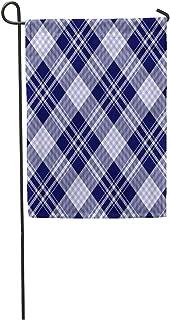 "Semtomn Seasonal Garden Flags 28"" x 40"" Tartan Plaid Pattern in Pale Blue Dark Navy White Indigo Nautical Border Outdoor Decorative House Yard Flag"