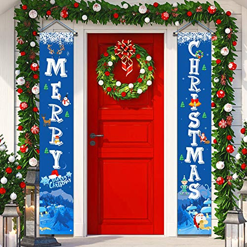 "YUFOL Christmas Decorations for Home Merry Christmas BannerHanging Christmas Door Decorations Decor Porch Sign for Front Door Welcome Christmas Banners Xmas Decor FlagsLarge Size 12""×71""Blue"