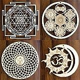 ZenVizion Sacred Geometry Bundle, 13 cm Sri Yantra Energy Centers Wheel of Life Torus, Sun and Moon Union OM