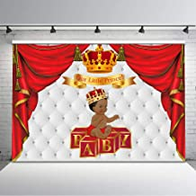 Mocsicka Royal Baby Shower Backdrop Red and Gold Crown Curtain Blocks Little Prince Baby Shower Photo Background 7x5ft Ethnic Boy Baby Shower Backdrops Baby Shower Decorations Supplies